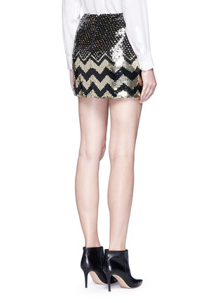 Back View - Click To Enlarge - alice + olivia - 'Elana' sequin chevron mini skirt