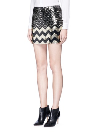 Front View - Click To Enlarge - alice + olivia - 'Elana' sequin chevron mini skirt