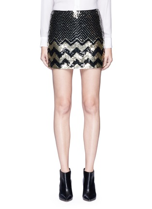 Main View - Click To Enlarge - alice + olivia - 'Elana' sequin chevron mini skirt