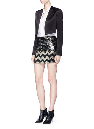 Figure View - Click To Enlarge - alice + olivia - 'Elana' sequin chevron mini skirt