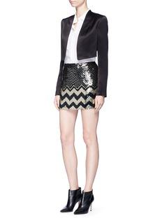 alice + olivia'Elana' sequin chevron mini skirt