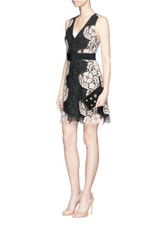 alice + olivia 'Patrice' contrast floral guipure lace dress