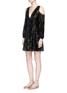 alice + olivia'Arla' flocked velvet fan cold shoulder dress