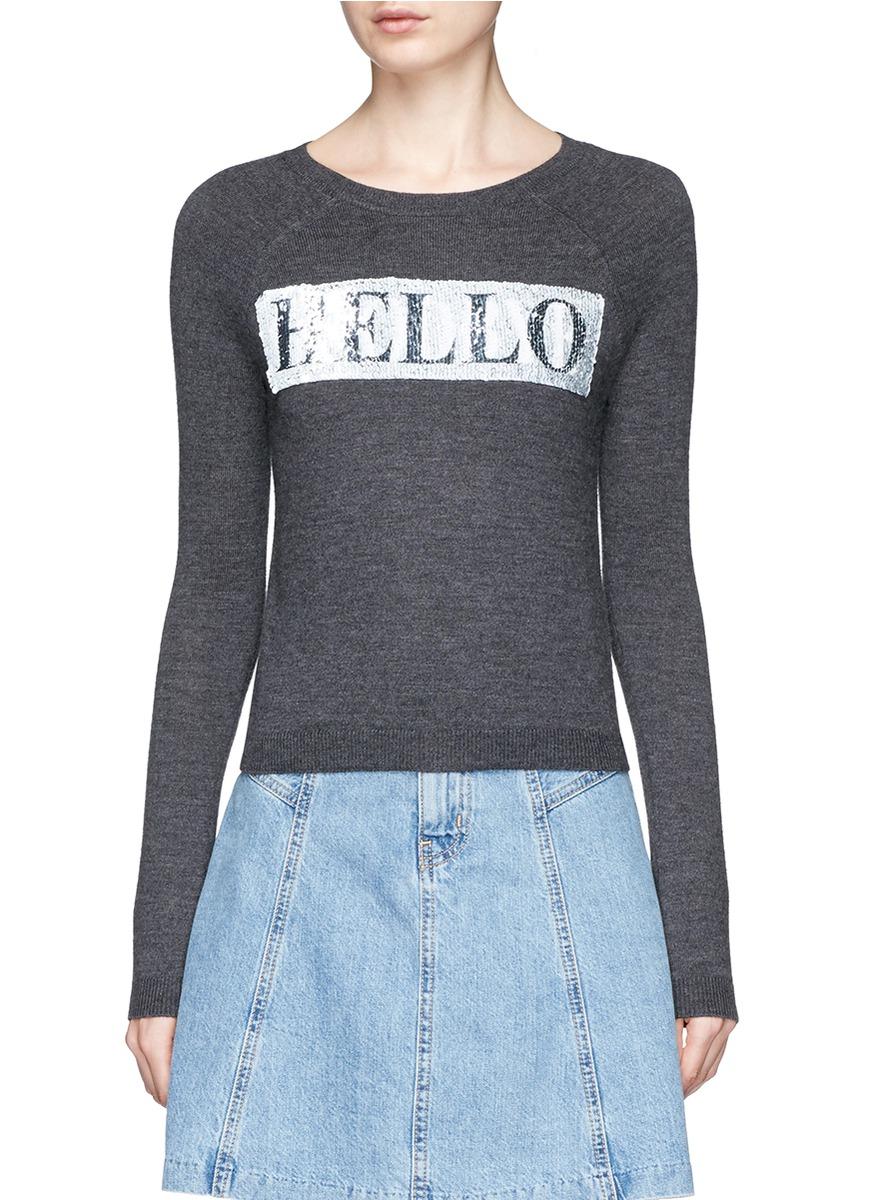 Hello Goodbye slogan wool sweater by alice + olivia