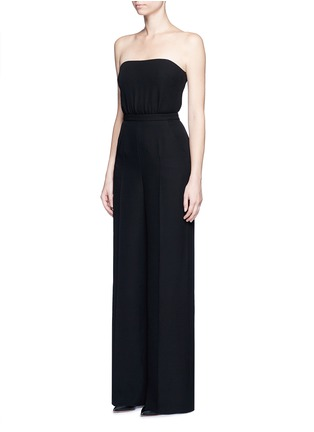 Front View - Click To Enlarge - Valentino - Open back Couture strapless silk jumpsuit