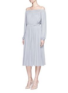 ValentinoRuched silk jersey off-shoulder dress