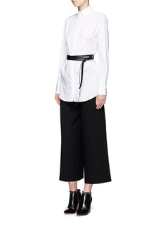 Valentino Faux leather belt poplin shirt