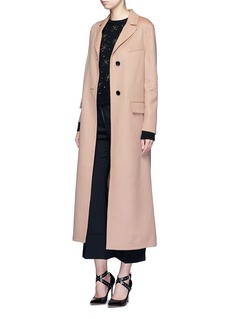 Valentino Inverted back pleat wool-cashmere long coat