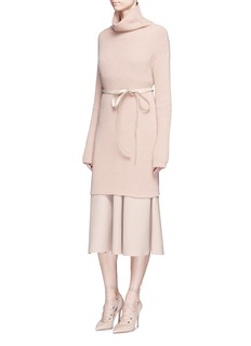 Valentino Belted virgin wool-cashmere turtleneck long sweater
