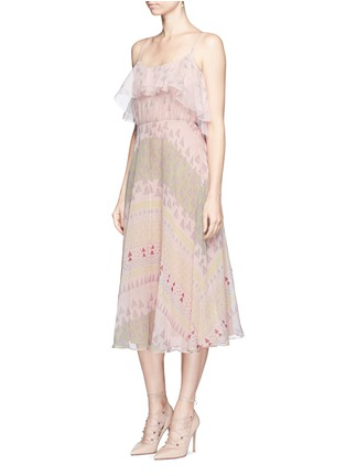 Front View - Click To Enlarge - Valentino - Geometric tribal print silk chiffon dress