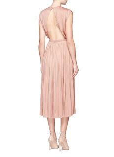 Valentino Cutout back pleated silk satin dress