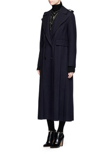 Valentino Tuck pleat felted wool long coat