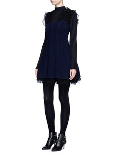 ValentinoVirgin wool-cashmere cable knit flare tulle dress