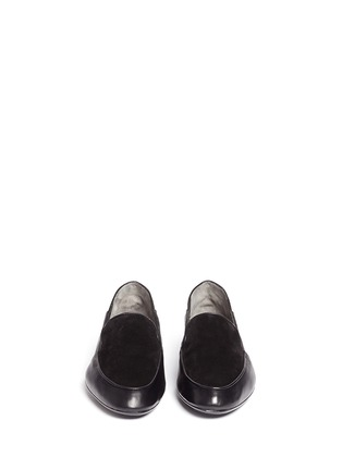 Front View - Click To Enlarge - Robert Clergerie - 'Fani' suede vamp lambskin leather loafers