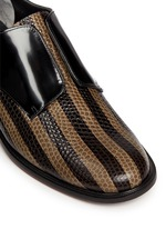 'Jaml' stripe croc effect leather laceless derbies