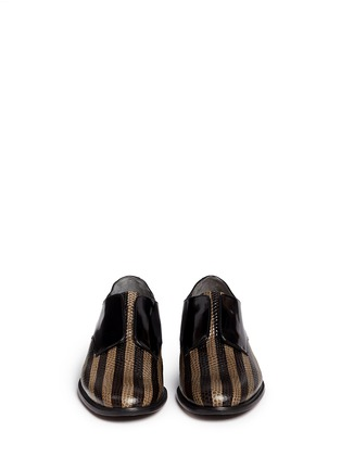 Front View - Click To Enlarge - Robert Clergerie - 'Jaml' stripe croc effect leather laceless derbies