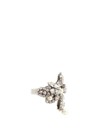 Erickson Beamon - 'Limelight' Swarovski crystal pavé glass pearl ring