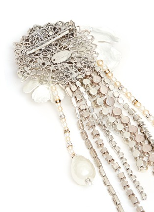Detail View - Click To Enlarge - Erickson Beamon - 'Winter Wonderland' Swarovski crystal pearl floral brooch