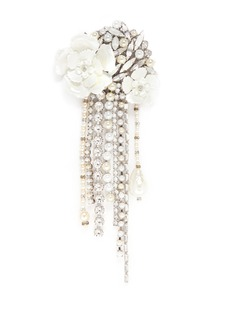 ERICKSON BEAMON 'Winter Wonderland' Swarovski crystal pearl floral brooch