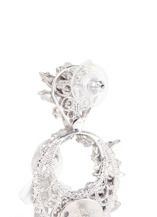 Detail View - Click To Enlarge - Erickson Beamon - 'Winter Wonderland' fringed floral hoop Swarovski crystal earrings