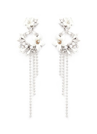 Main View - Click To Enlarge - Erickson Beamon - 'Winter Wonderland' fringed floral hoop Swarovski crystal earrings
