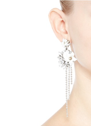 Figure View - Click To Enlarge - Erickson Beamon - 'Winter Wonderland' fringed floral hoop Swarovski crystal earrings