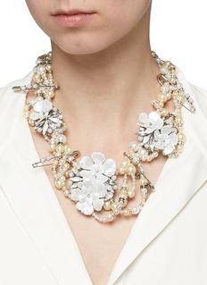 Erickson Beamon'Winter Wonderland' Swarovski crystal glass pearl floral statement necklace