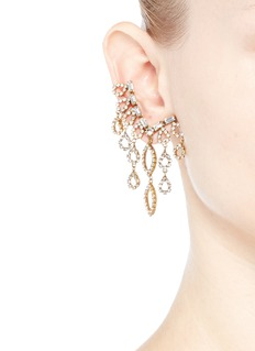 Erickson Beamon 'Princess' Swarovski crystal asymmetric climber and stud earrings