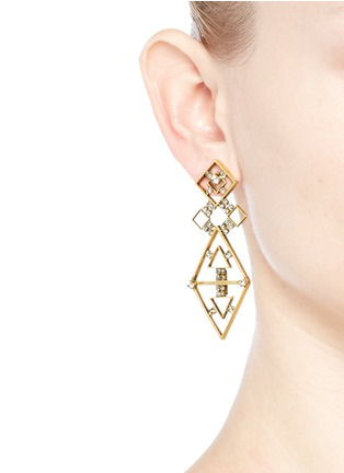 Erickson Beamon - 'Geometry One' Swarovski crystal cutout drop earrings