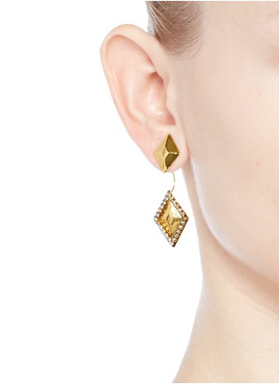 Erickson Beamon - 'Smoking' Swarovski crystal rhombus drop jacket earrings
