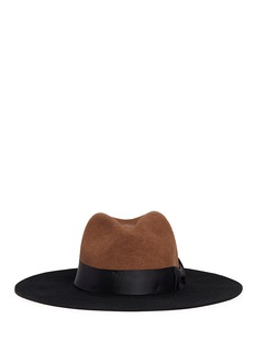 Sensi Studio Grosgrain bow colourblock wool felt hat
