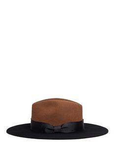 Sensi StudioGrosgrain bow colourblock wool felt hat