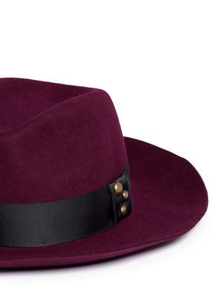 Detail View - Click To Enlarge - Sensi Studio - 'Sarah' stud grosgrain bow wool felt fedora hat