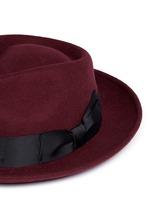 Grosgrain bow wool felt fedora hat