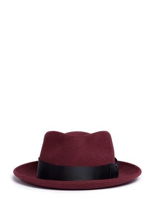 Sensi Studio-Grosgrain bow wool felt fedora hat