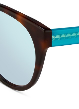 Detail View - Click To Enlarge - Matthew Williamson - Contrast temple tortoiseshell acetate cat eye mirror sunglasses