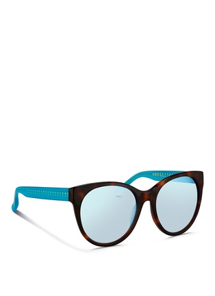 Figure View - Click To Enlarge - Matthew Williamson - Contrast temple tortoiseshell acetate cat eye mirror sunglasses