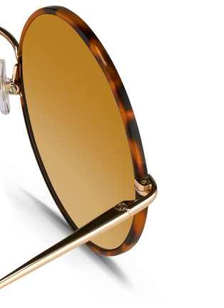 Detail View - Click To Enlarge - Matthew Williamson - Contrast tortoiseshell acetate oversize round mirror sunglasses