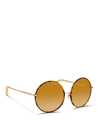 Figure View - Click To Enlarge - Matthew Williamson - Contrast tortoiseshell acetate oversize round mirror sunglasses