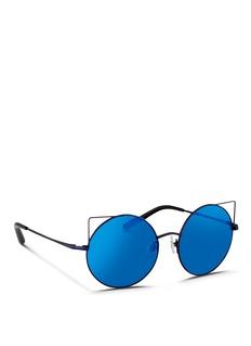 Matthew Williamson'Playful' wire cat ear round mirror sunglasses