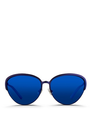 Main View - Click To Enlarge - Matthew Williamson - Wire rim cat eye mirror sunglasses