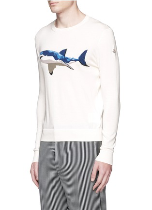 Front View - Click To Enlarge - Moncler - Shark intarsia cotton sweater