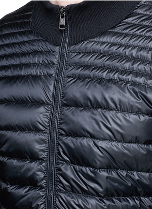 Detail View - Click To Enlarge - Moncler - Quilted down front side stripe zip cardigan