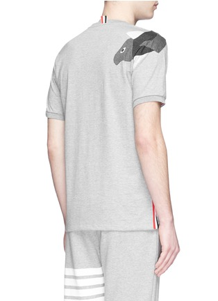Back View - Click To Enlarge - Thom Browne - Fish patchwork jersey T-shirt