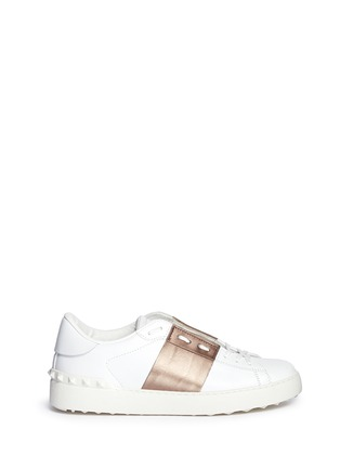Main View - Click To Enlarge - Valentino - 'Rockstud' metallic band low top sneakers