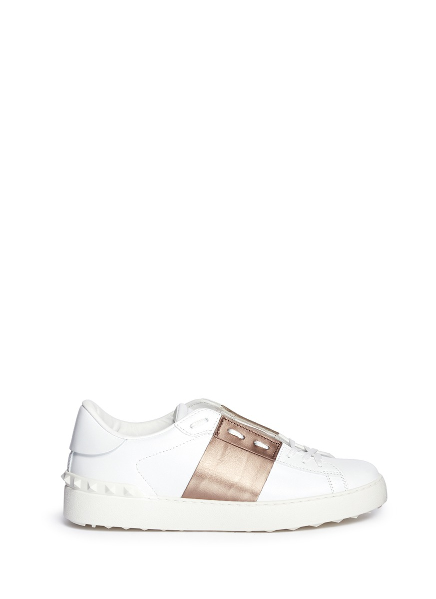 Rockstud metallic band low top sneakers by Valentino