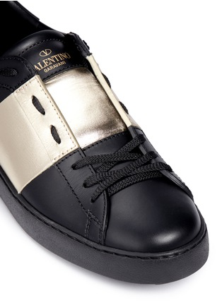 Valentino-Metallic colourblock leather stud sneakers