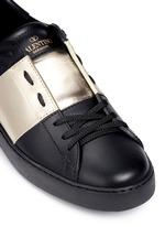 Metallic colourblock leather stud sneakers