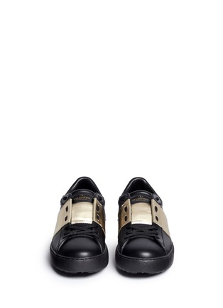 Front View - Click To Enlarge - Valentino - Metallic colourblock leather stud sneakers