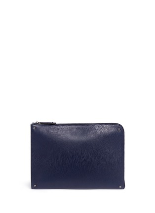 Main View - Click To Enlarge - Valentino - 'Rockstud' leather zip pouch